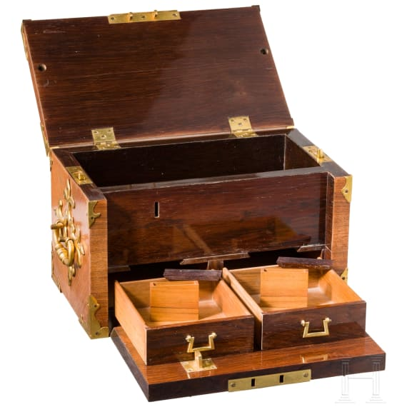 A strong French box with rich brass mounts, early 18th century