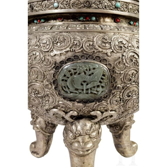 A three-part Sino-Mongolian silver altar set adorned with corals, 19th century