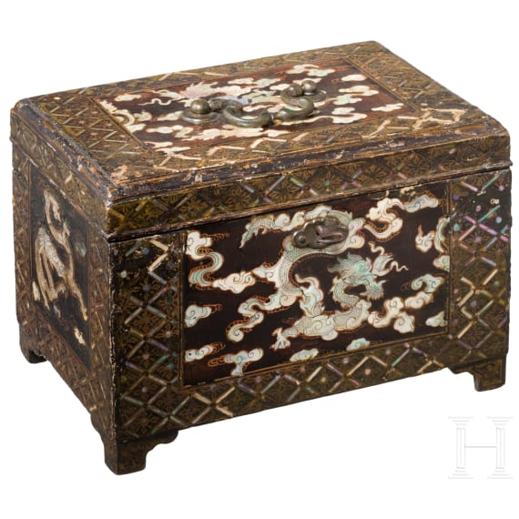 A rare Korean casket with fine mother-of-pearl inlays, circa 1700