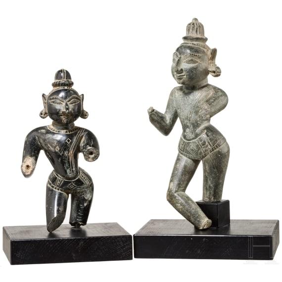 Zwei Skulpturen von Gottheiten, Indien, 19. Jhdt.