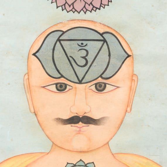 Yogi-Miniatur, Indien, Pahari, 19. Jhdt.