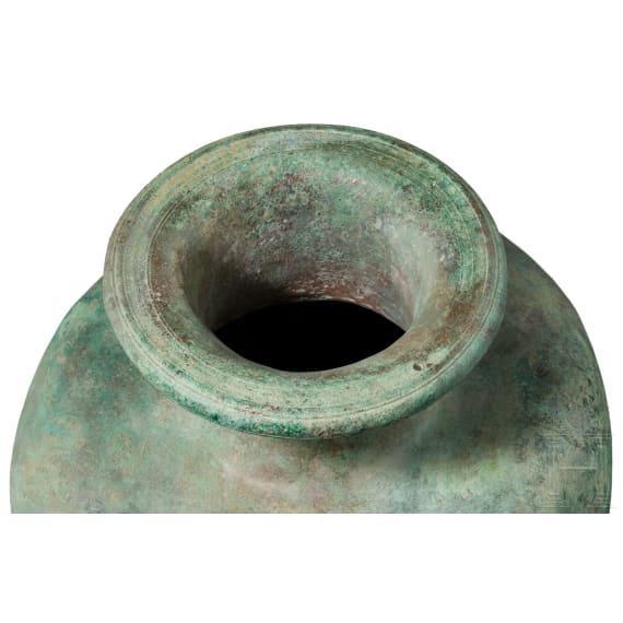 A Greek bronze hydria, 5th century B.C.