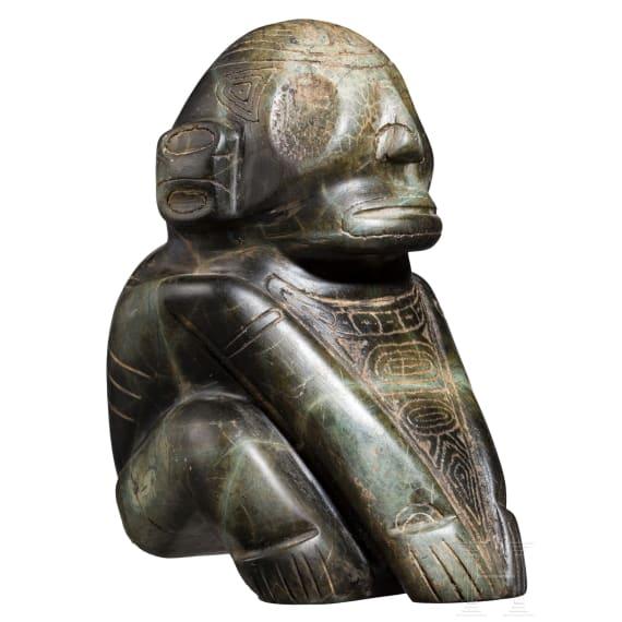 Skulptur eines hockenden Menschen, Taino-Kultur, Karibik, 11. - 15. Jhdt.