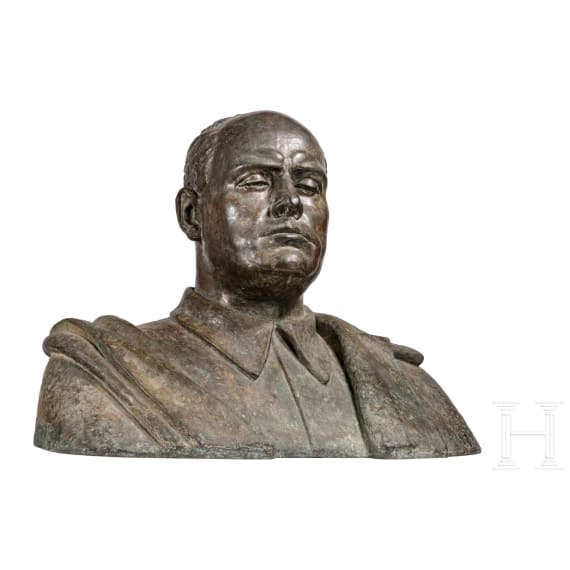 Silvio Ceccarelli (1901 - 1985) - a monumental portrait bust of Mussolini as a judge, dated 1932