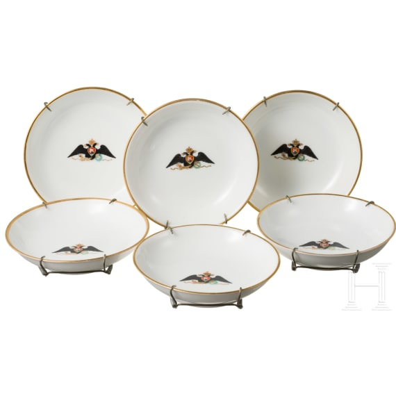 Six small plates of the Imperial Porcelain Manufactory St. Petersburg, dated 1905 – 1908