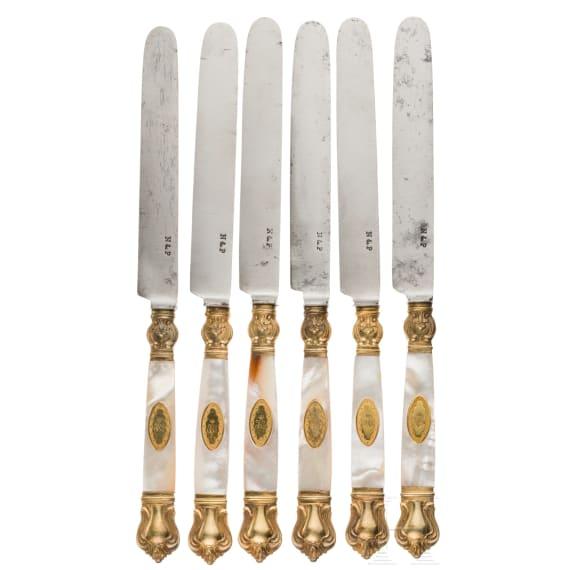 "Grand Duchess Olga Nikolaevna Romanova (1822 - 1892) - six splendid knives from the dessert service ""en vermeil"""