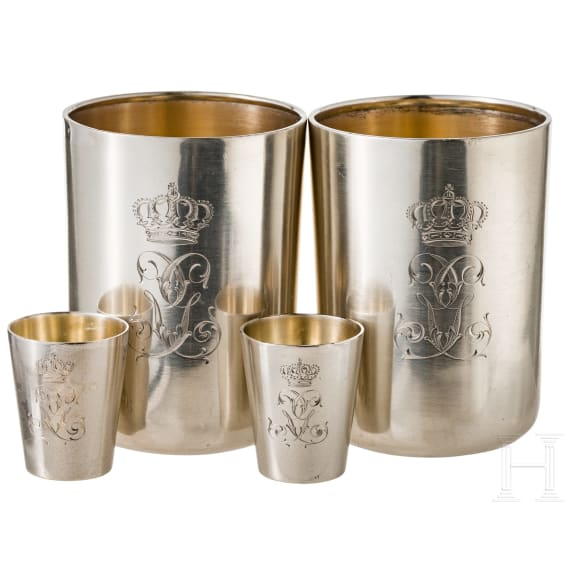 An officer's gift of silver, tray with four cups, from aristocratic property, circa 1900