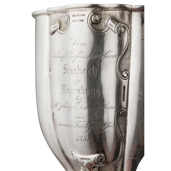A large silver goblet by J. G. Hossauer for senior forester Sembach in Pomerania, dated 1855
