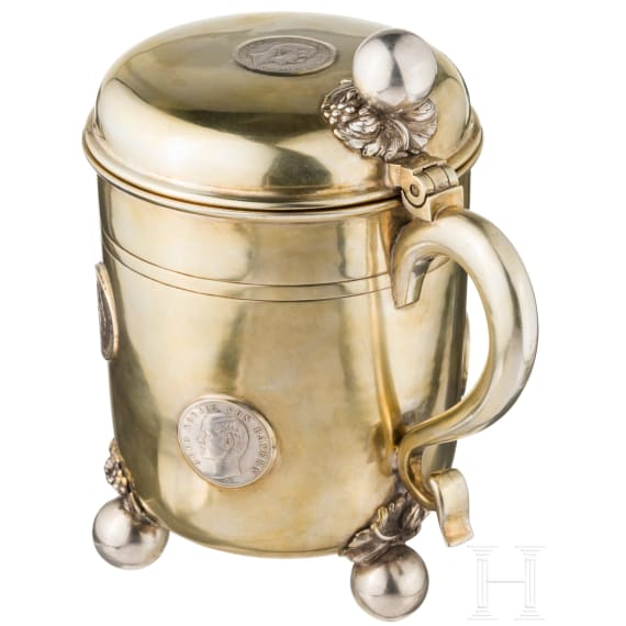 A large German coin tankard, late 19th century