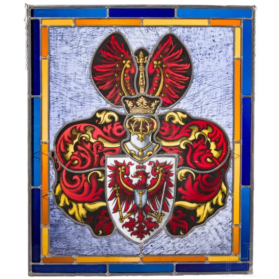 Glasbild des Wappens der Markgrafschaft Brandenburg, 20. Jhdt.