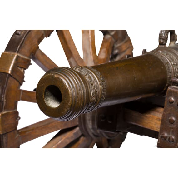 A model cannon with carriage, Nuremberg, dated 1650