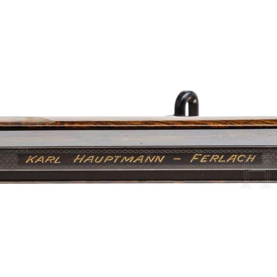 Luxus-Kipplaufbüchse, Karl Hauptmann, Ferlach, mit ZF Zeiss, im Lederkoffer