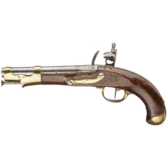 A French flintlock cavalary pistol, Maubeuge M an 9, made 1808