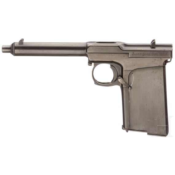 Sunngard Mod. 1909 prototype, experimental sheet-metal gun with two magazines with matching numbers