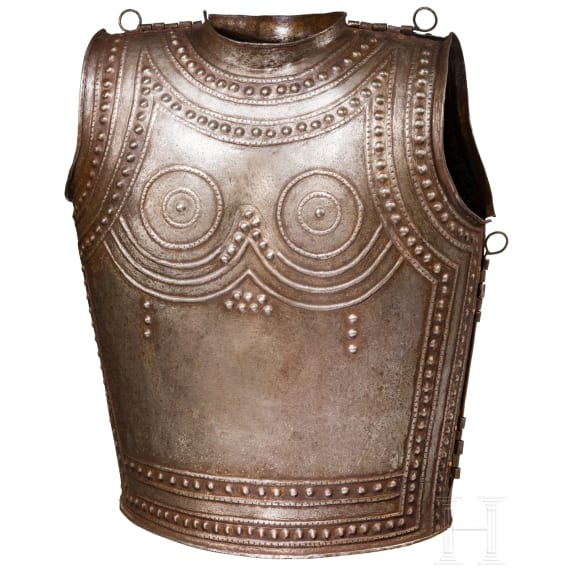 A collector's replica of an iron cuirass modeled after the Celtic cuirass of Marmesse, in the style of the 9th - 8th century B.C.