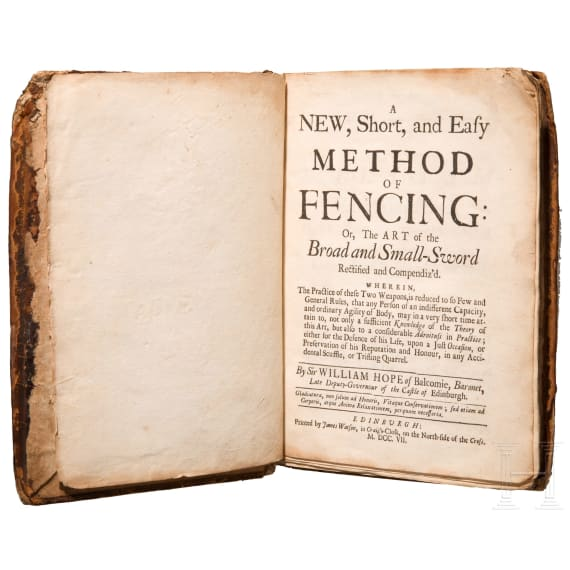 """William Hope, """"A New, Short and Easy Method of Fencing"""", Edinburgh, 1707"""