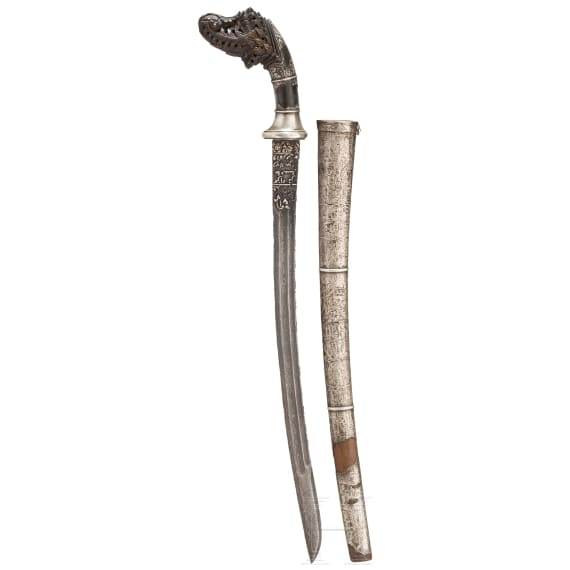 An Indonesian Klewang with silver incrusted damascus blade, 19th century