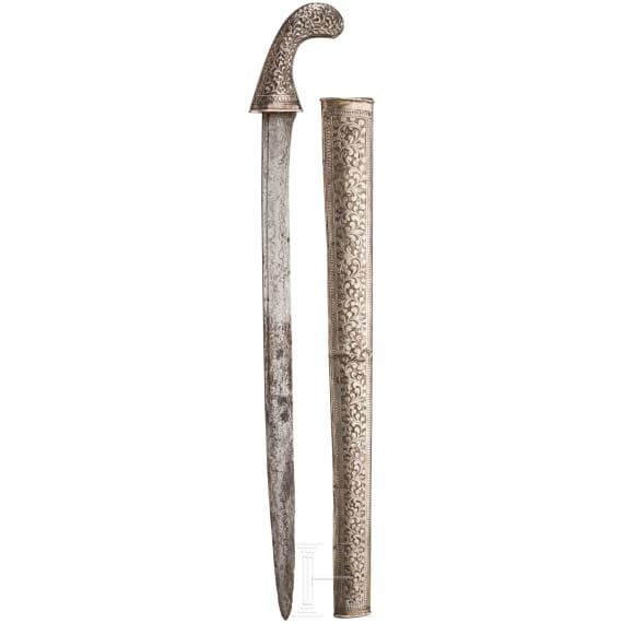 A nickel silver mounted pedang, Sumatra, circa 1900