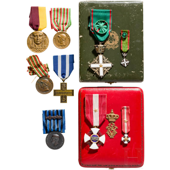 An order of the Crown of Italy - a Cross of the Knights with case and other awards, 20th century