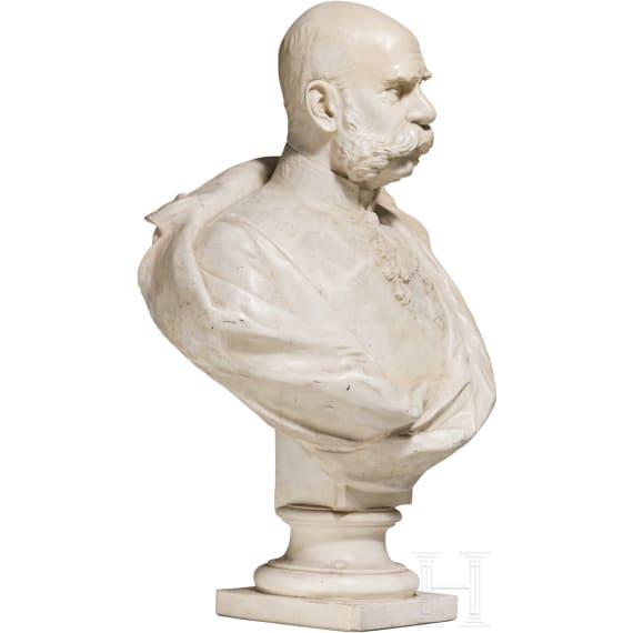 Emperor Franz Joseph I of Austria - plaster bust on wooden stand