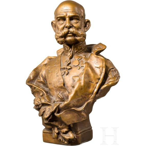 Emperor Franz Joseph I of Austria - gold bronzed plaster bust
