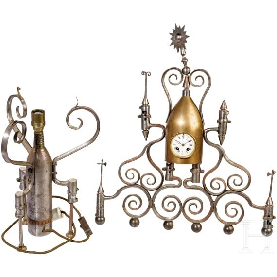 Patriotic clock and lamp, 19th century
