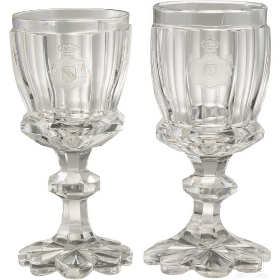 Zwei Kristallglas-Landweingläser der Großherzöge von Baden