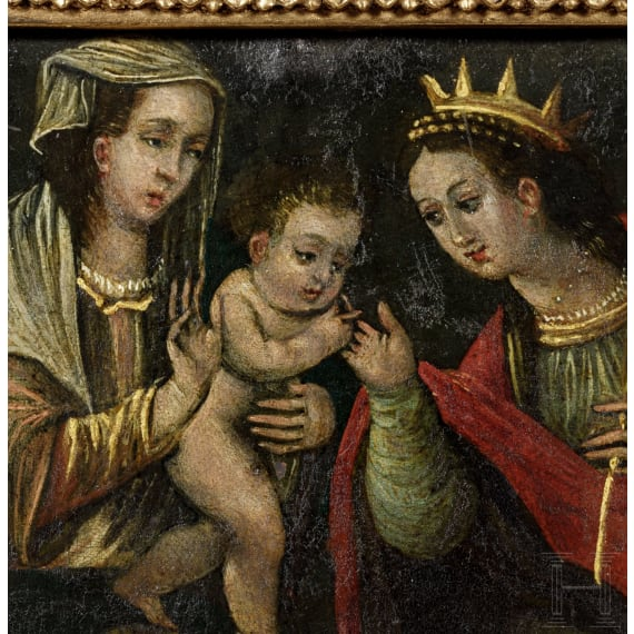 An old Master Painting Mary with the Child Jesus, Spain or South America, 17th/18th century