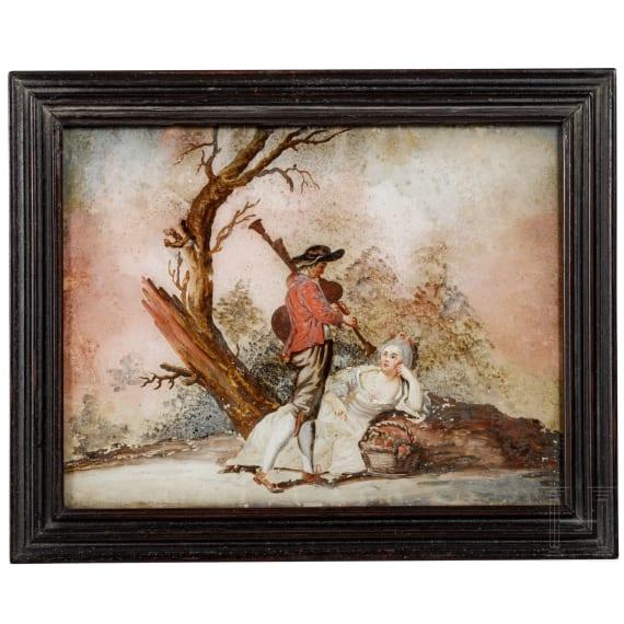 Hinterglasbild mit Hirtenszene, süddeutsch, um 1760