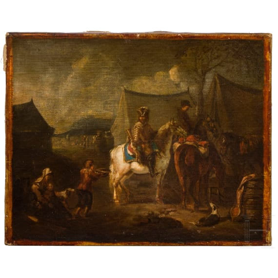 A French painting with a beggar scene, 18th century