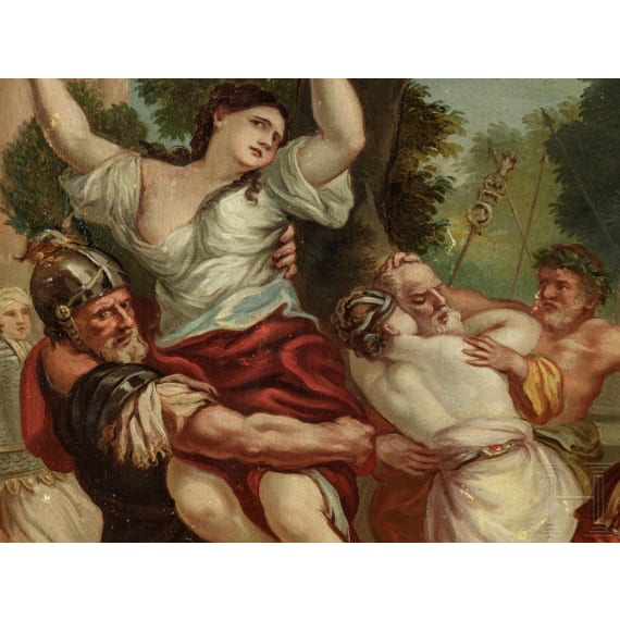 """An Italian painting """"The Abduction of the Sabine Women"""", after Pietro da Cortona, 18./19. Jhdt."""
