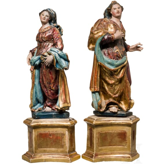 Two southern German wooden statues of St. Cathrine and St. Barbara, mid-18th century