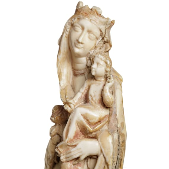 Probably French, a sculpture of a Madonna and Child in Gothic style, 19th century