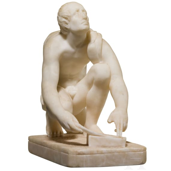 "An Italian alabaster sculpture of ""Arrotino"" as a blade grinder, 19th century"