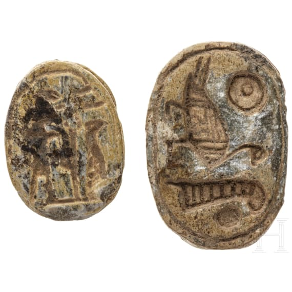 Two Egyptian amulet scarabes, 2nd - 1st millennium B.C.