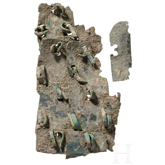 A fragment of a Roman lorica squamata, 2nd - 3rd century
