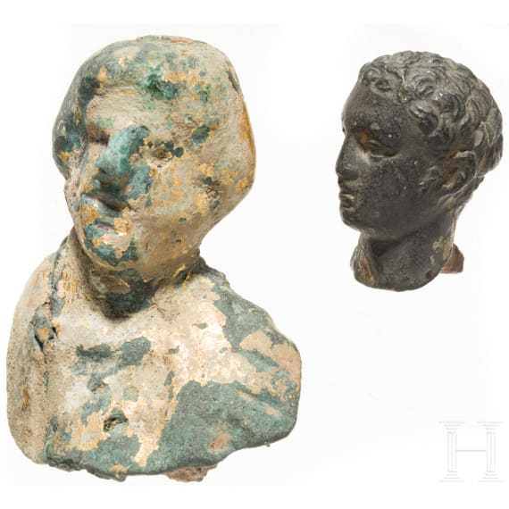 Two Roman bronze heads, 2nd - 3rd century