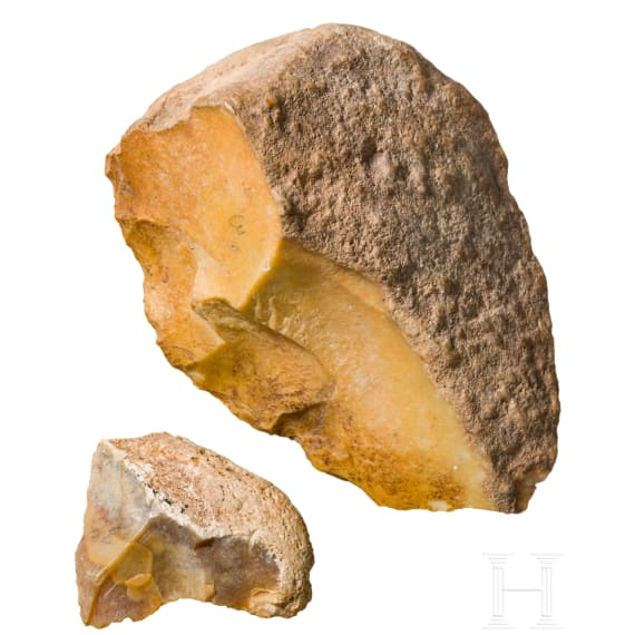Two European or northern African Palaeolothic stone tools, circa 40000 – 20000 B.C.