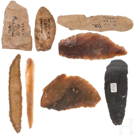 Eight prehistoric flint tools from Persia