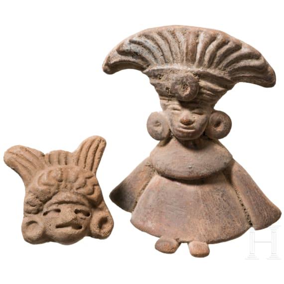 Kleinterrakotta und tönerne Kopfapplike, Mittelamerika, ca. 500 – 1500