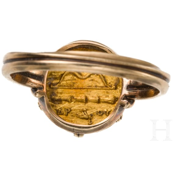 A modern gold fingerring with original 1/4 stater from the age of Alexander the Great, 336 - 323 B.C.