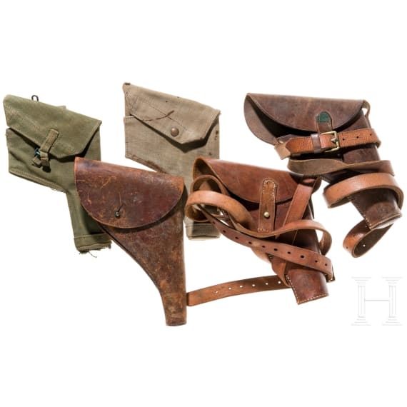 Five British pistol holsters