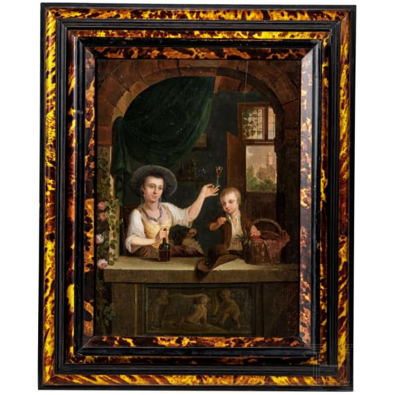 A German New Master painting with lady, boy and dog at window, circa 1800