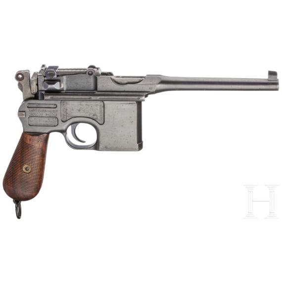 """Mauser C 96 """"Wartime Commercial"""" mit kaiserlicher Abnahme, Anschlagkasten und Belederung"""