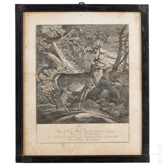 Four hunting engravings, three of them by Johann Elias Ridinger, Augsburg, circa 1760
