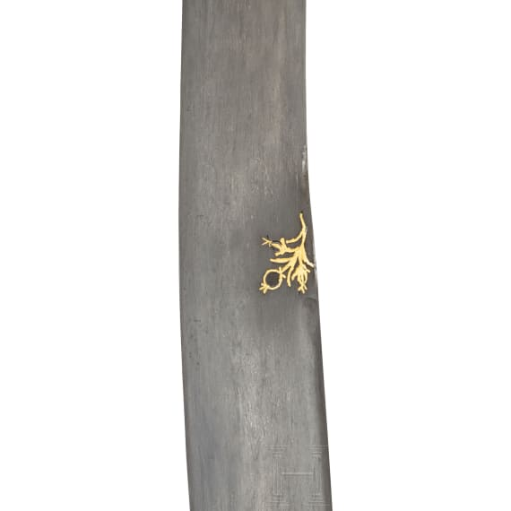 An Ottoman silver-mounted and nielloed, gold-inlaid kilij with a nephrite handle, 2nd half of the 17th century