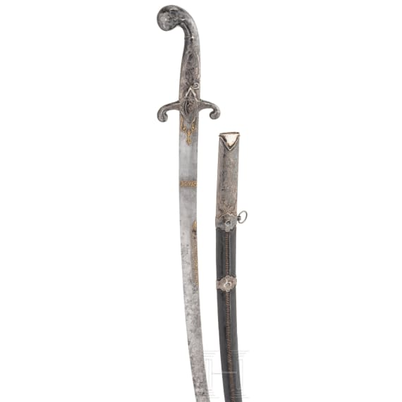 A silver mounted Osmanic shamshir, 1st half of the 19th century