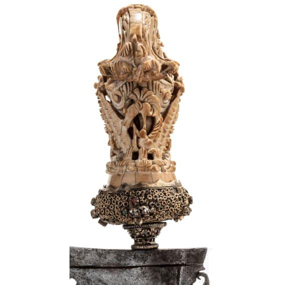 An ivory mounted Balinese kris, 19th century