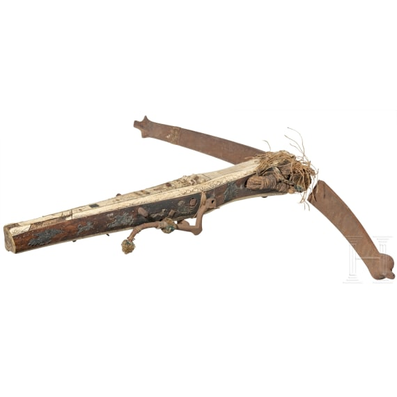 A Saxon crossbow with pewter inlays, late 16th century