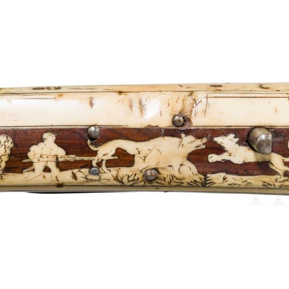 A German Renaissance crossbow with lavish bone inlays featuring hunting motifs, circa 1580